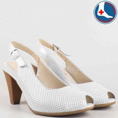 Сиви анатомични дамски сандали на висок ток от перфорирана естествена кожа- Naturelle  z68080sv