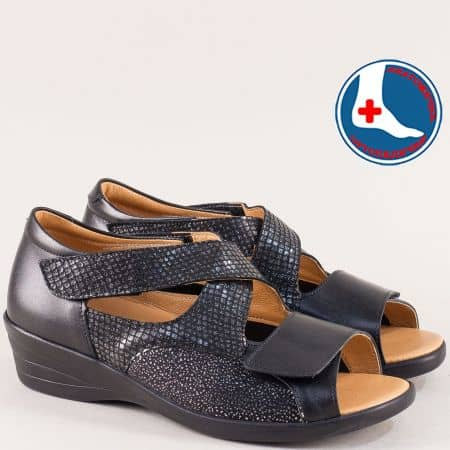 Анатомични дамски сандали от естествена кожа в черно z6928chps