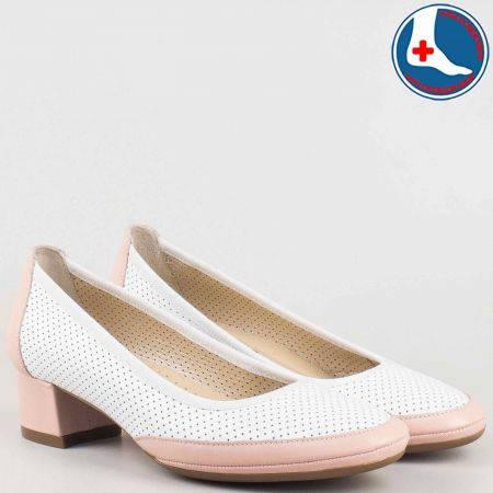 Дамски перфорирани обувки- Naturelle на среден ток от естествена кожа в розово и бяло и с кожена ортопедична стелка   z6957030b
