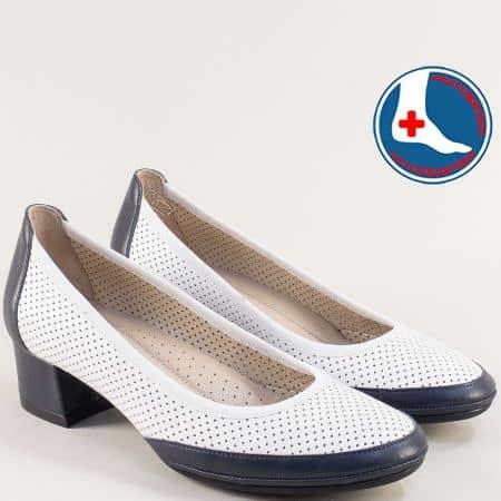 Перфорирани дамски обувки в синьо и бяло- NATURELLE z6957030bs