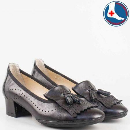 Дамски ежедневни обувки на среден ток с ресни от черна естествена кожа и анатомична стелка- Naturelle  z695710ch