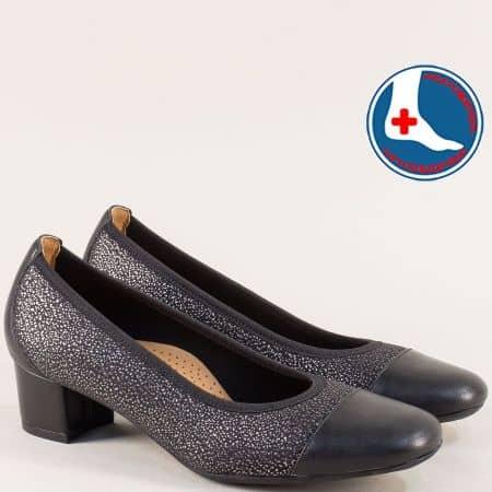 Кожени дамски обувки в черно и сребро на среден ток z7097chps