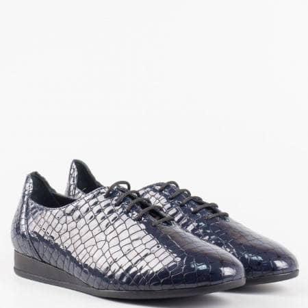 Ежедневни дамски обувки от естествен лак с удобна ортопедична стелка с връзки z891901ks