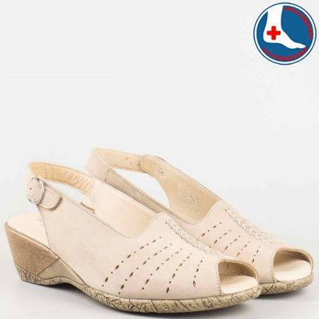 Дамски анатомични сандали на клин ходило- Naturelle от бежов естествен набук с перфорация z9956nbj