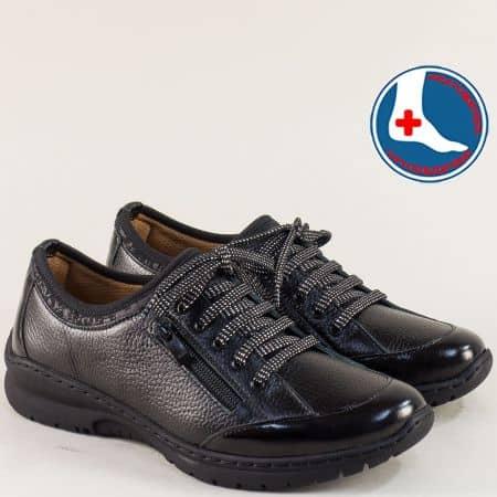 Спортни дамски обувки от естествена кожа в черен цвят zbellach1
