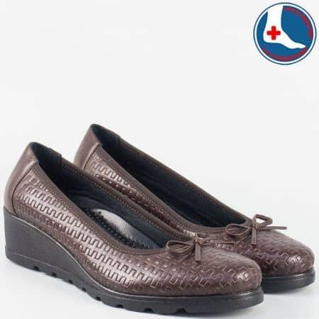 Кафяви ежедневни дамски обувки Naturelle  с ортопедична стелка zk01kk