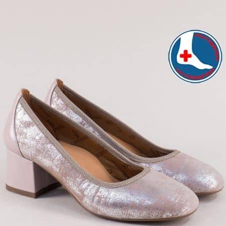Розови дамски обувки с блясък на анатомично ходило zlilarzsr