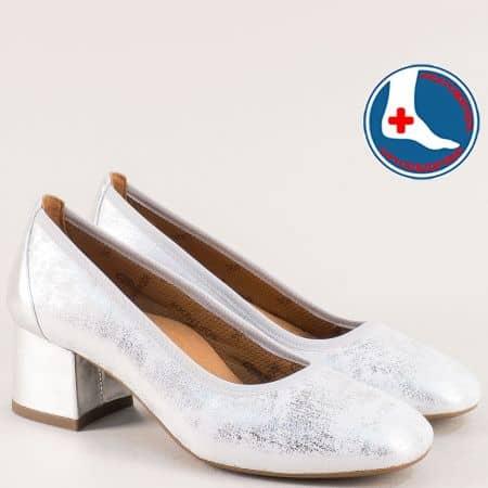 Сребърни дамски обувки с кожена ортопедична стелка zlilasr