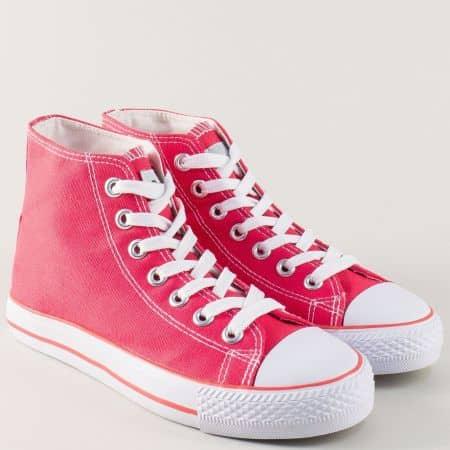 Розови дамски кецове с връзки и бяло ходило zx03rz