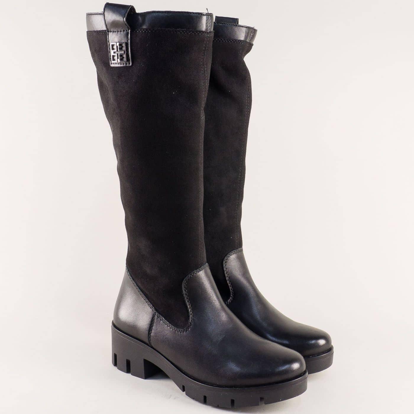 a45f6d41650 Дамски ботуши на нисък ток с грайфер в черен цвят x2051vch - Sisi-bg.com